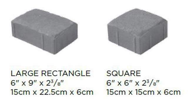 Camelot & Tumbled Camelot Block Sizes